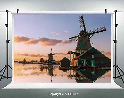 Background Traditional Village with Canal Waterfront Dutch Architecture