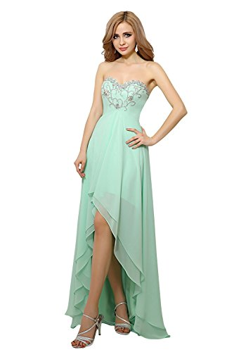 Red Chiffon Low Bridal Gowns Dresses Evening Hi Women's Dora Sweetheart Prom Beaded wPgtCUqFx
