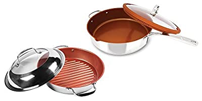 NuWave 11-Inch Stainless Steel Grill Pan with Lid PLUS Bonus Stainless Steel Everyday Pan