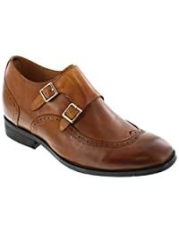 CALTO - G1087 - 3 Inches Taller - Height Increasing Elevator Shoes (Brown Leather Slip-on Wing-tip)
