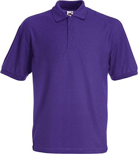 Fruit of the Loom Herren Piqué Poloshirt aus Mischgewebe 63-402-0 Purple L