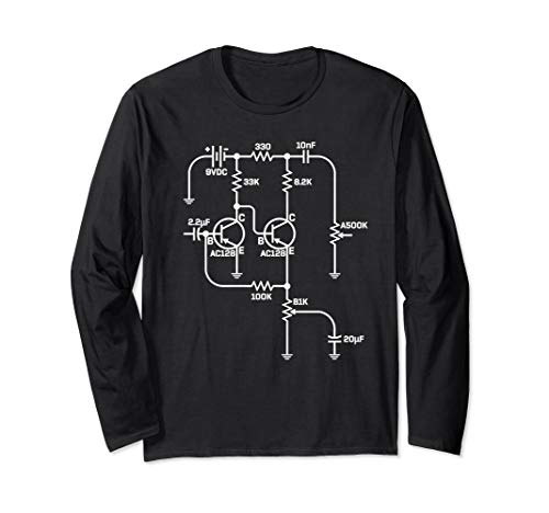 Fuzz Pedal Boutique Handwired Schematic Circuit Design Long Sleeve T-Shirt - Boutique Pedals Fuzz