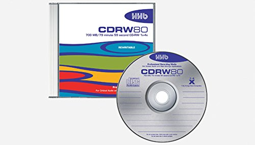 HHB 80 Minute ARCHIVAL Professional SILVER BEST CD-RW Rewritable Disc 1x-4x Write Speed In Standard Jewel Case 10-PACK