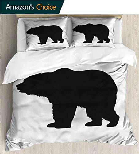 carmaxs-home Print Comforter Quilt Set,Box Stitched,Soft,Breathable,Hypoallergenic,Fade Resistant Bedding Sets-Nature Grizzly Wild Alaskan Bear (79