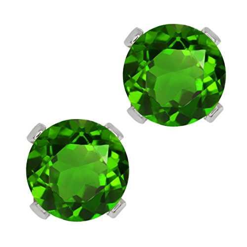 GemStoneKing Fashion 14K White Gold Halo Earrings For Women 1.00 Ct Round Green Chrome Diopside 4-prong Stud Earrings (Round Diopside)