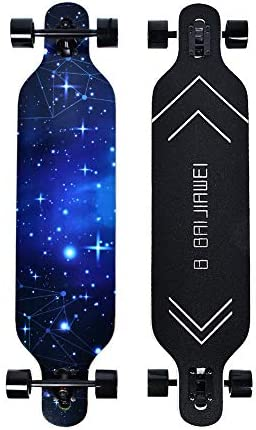 B BAIJIAWEI Drop Through Longboard – 41 Inch Maple Skateboard – Complete Skateboard Cruiser for Cruising, Carving, Free-Style and Downhill
