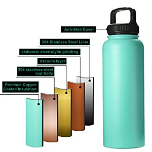 40OZ Vacuum Insulated Stainless Steel Water Bottle, OUTERDO heat preservation pot outdoor sports portable large capacity water bottle Cyan-blue
