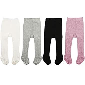 Zando   Soft Baby Tights Seamless Cable Knit Infant Tights for Baby Girls Leggings Stockings Newborn Pantyhose Winter Clothes Toddler Warm Socks 4 Pack - Colorful Mixed B 0-6 Month