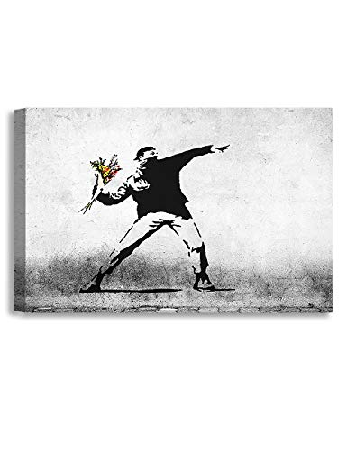 (DECORARTS - Rage, Flower Thrower - Graffiti Artworks by Banksy. Giclee Print Wall Art for Home Decor and Wall Decor.36x24 x1.5)
