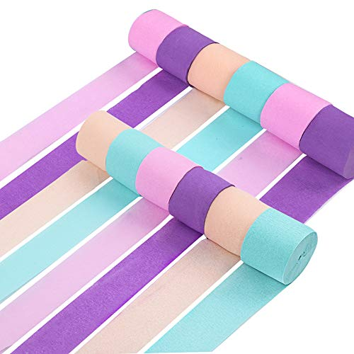 RUBFAC 12 Rolls Crepe Paper Streamers Unicorn Party Supplies Decorations for Kids Birthday Party Baby Shower Bridal Shower]()
