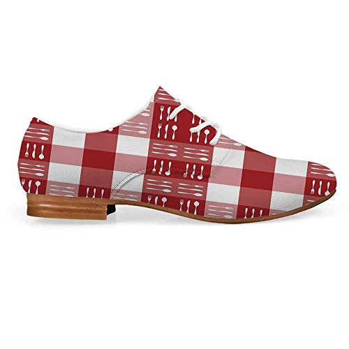 Checkered Leather Oxfords Lace Up Shoes,Cutlery Silhouettes on Squares Dining Picnic Themed Tile Spoons Forks Knives Decorative Bootie for Girls ladis Womens,US 9