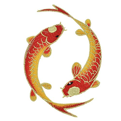 Qlychee Tai Chi Fish Multicolor Animal Embroidered Patches for Clothing DIY Chinese Ethnic Tai Ji Lucky Design Patch Embroidery Applique