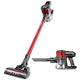 Cordless Vacuum, ONSON Cordless Stick Vacuum Cleaner, 150W Powerful Cleaning Lightweight 2 in 1 Handheld Vacuum with Rechargeable Lithium Ion Battery (red)