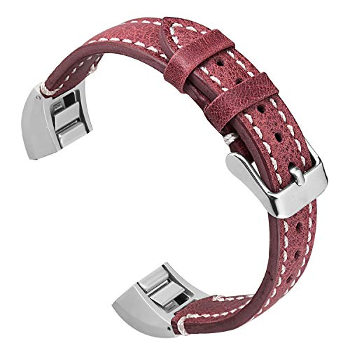 ESeekGo Leather Band Compatible with Fitbit Alta/Fitbit Alta HR/Fitbit Ace, Genuine Leather Wristband Replacement Strap for Men and Women (No Tracker,Red with White Line)