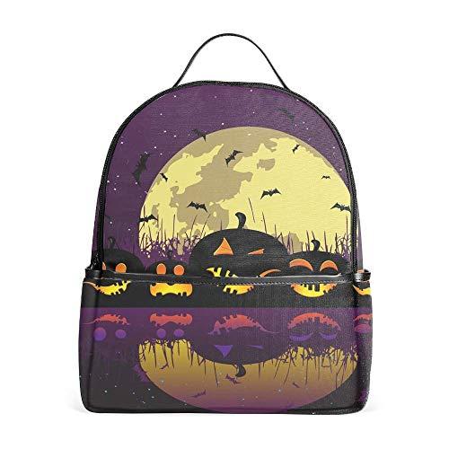 Halloween Pumpkins River School Bookbags for Girls, Cute Casual Backpack College Bags Women Daypack Travel Bag