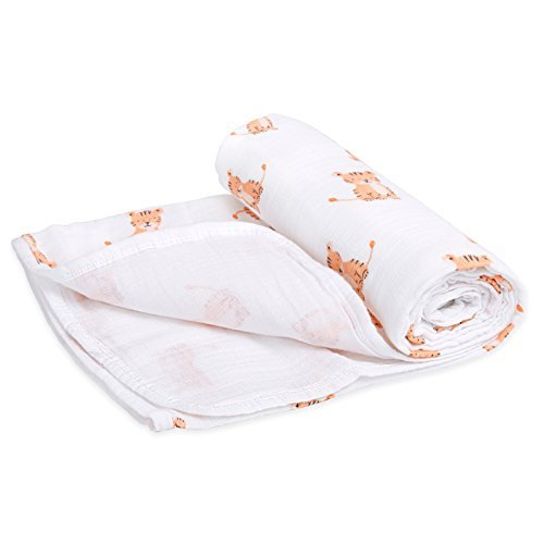 (Aden by Aden + Anais Stroller Blanket, 100% Cotton Muslin, 4 Layer Lightweight and Breathable, Large 44 X 44 inch, Safari Babes - Tiger)