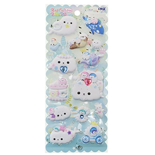 Shombori Azarashi White Seal Super Puffy Mochi Mochi Sticker Sheet with Jewels Japan Collection ()