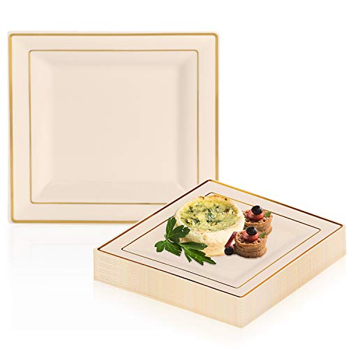 (Elegant Disposable Plastic Dessert Plate Set - 120 Heavy Duty Fancy Square Salad Plates - Reusable Ivory with Gold Rim Cake Party Plate For Wedding, Christmas, Thanksgiving, Birthday & Other Occasions)