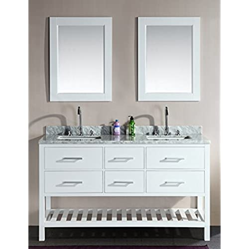 Design Element DEC077C W London 61 Inch Double Sink Vanity Set With Open  Bottom, White