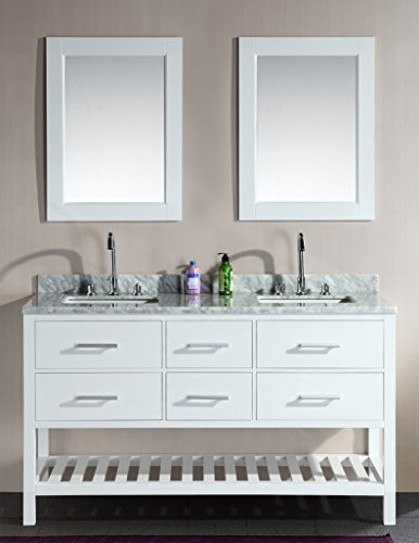 Design Element DEC077C-W London 61-Inch Double Sink Vanity Set with Open Bottom, White