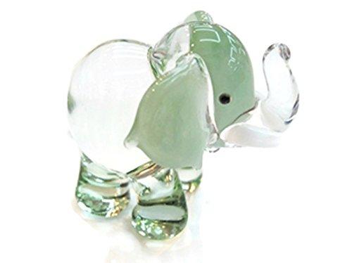 ChangThai Design Dollhouse Miniatures Hand Blown Art Green Elephant FIGURINE Animals -