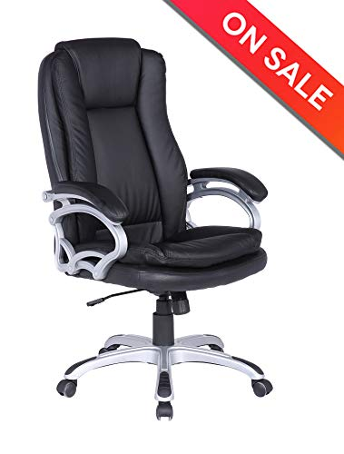 LCH PU Leather Executive Office Chair - Adjustable 90°-120° Recline Locking Mechanism Thick Padding and Ergonomic Design for Lumbar Support-Black ()