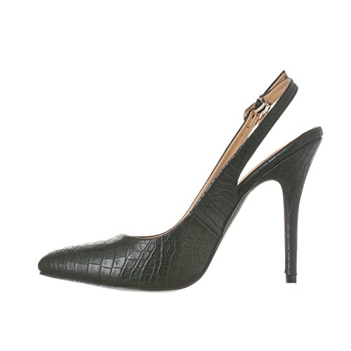 Women's Croc Lucy Back Pointed Toe Riverberry Heels Pump Stiletto Sling Black qvwCdw5