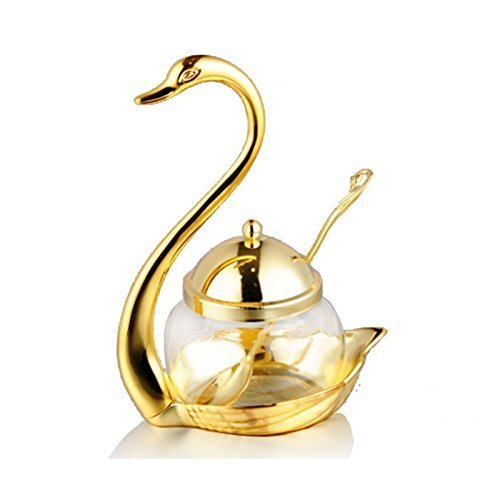 Zabrina Condiment Pot Seasoning Container Spice Glass Jar Salt Sugar Bowl Pepper Coffee Storage Organizer (Gold) by Zabrina