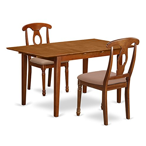 PSNA3-SBR-C 3 PcRectangular Kitchen Table having 12in Leaf and 2Upholstered Dinette Chairs in Saddle Brown .