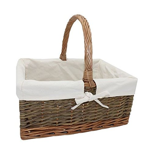 Country Rectangular Wicker Shopping Basket with White Lining