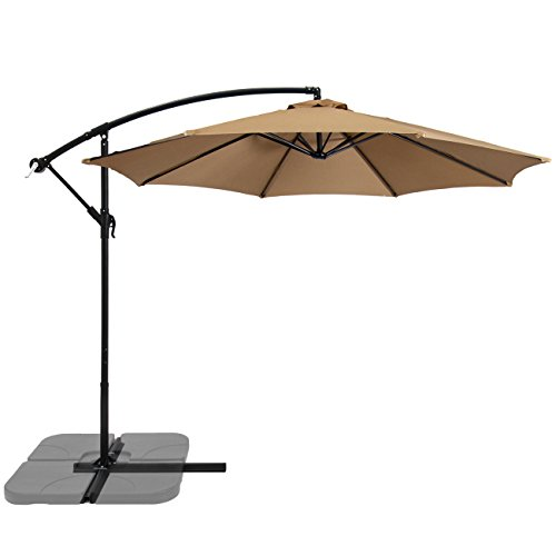 Best Choice Products Offset 10' Hanging Outdoor Market New Tan Patio Umbrella, Beige