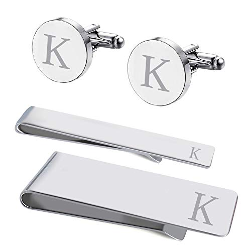 BodyJ4You 4PC Cufflinks Tie Bar Money Clip Button Shirt Personalized Initials Letter K Gift ()
