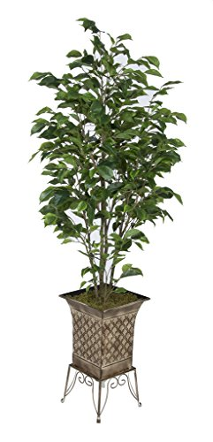 Artificial Green Ficus in Small Planter Stand (Light Tan) by House of Silk Flowers, Inc.