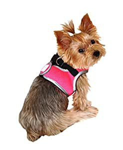 SimplyWag Dog Body Harness, Neon Pink w Reflective Trim, Small