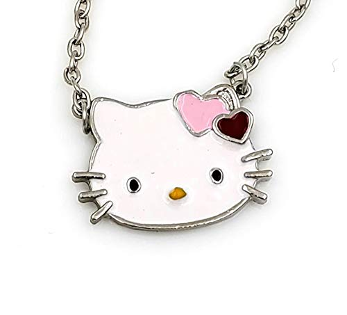 Glazed Black Cherry Sweet charm Hello Kitty Necklace Pendant Fashion Jewelry for Girls Bling hearts bow