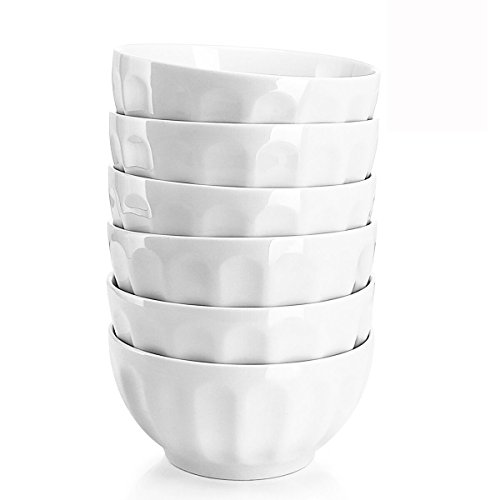 Sweese 1108 Porcelain Fluted Bowl Set - 26 Ounce for Cereal, Salad and Soup - Set of 6, White