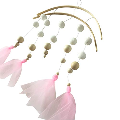 SODIAL Photography Props Wood Beads Lace Hanging Decorations Crib Bell Wind Chimes Nordic Style Kids Tent Decoration Home Decor, Pink Yarn