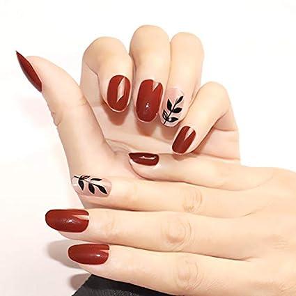 Interookie 24 uñas postizas de estilo largo con pegamento y ...