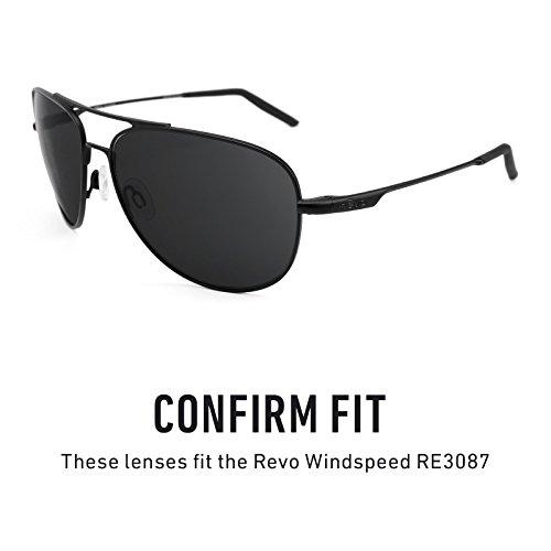 Verres de rechange pour Revo Windspeed RE3087 — Plusieurs options Noir Chrome MirrorShield® - Polarisés