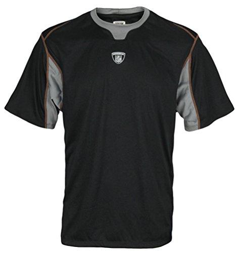 Reebok Equipment NFL Mens Athletic PlayDry Tee (X-Large, Black/Orange Stitching)