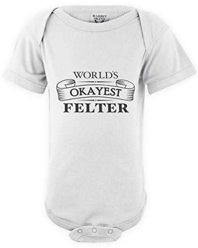 (shirtloco Baby Worlds Okayest Felter Onesie Bodysuit, White 18 Months)