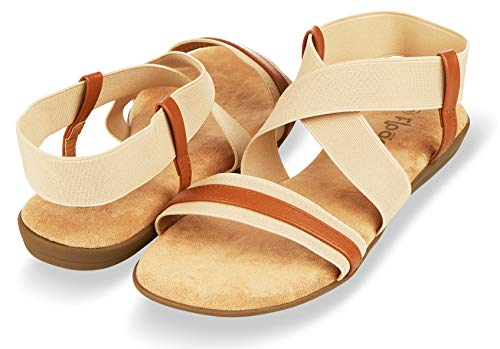 Floopi Sandals for Women Open Toe, Gladiator Design Summer Sandals | Comfy, Elastic Ankle Strap W/Flat Sole & Memory Foam Insole for Extra Comfort | 0.625