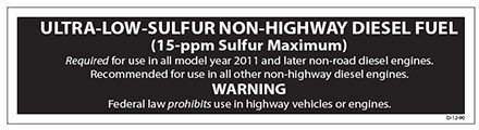 - Decals (Pack of 5) - Ultra-Low-Sulfur Non-Highway Diesel Fuel (3