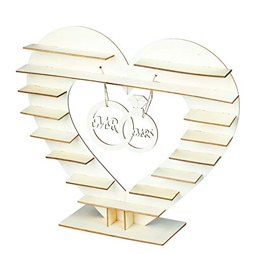 Vlovelife Wooden Display Stand, Mr & Mrs Heart Chocolate Display Tree Stand Wedding Centrepiece Decoration