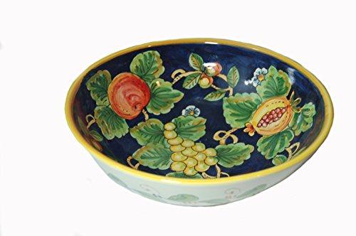 Frutta Blu Hand Painted Italian Ceramic Large Serving Bowl Made in (Majolica Centerpiece)