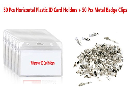 Evinis 50 Pcs Clear Plastic Horizontal Name Tag Badge ID Card Holders and 50 Pcs Metal Id Badge Holder Clips with PVC Straps for Exhibition, School, Conference ID Card & Name Tag Badge (Horizontal)
