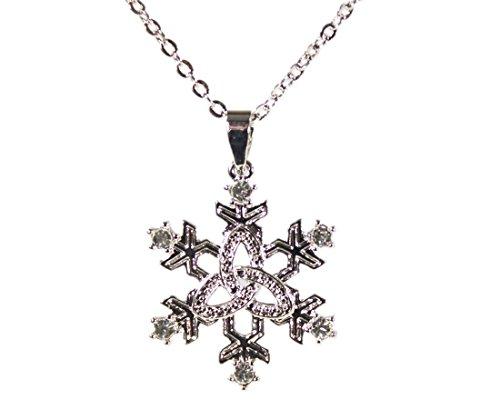 - Tara Trinity Knot Necklace Irish Snowflake Pendant Rhodium Plated Made in Ireland