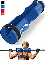 Fit Viva Barbell Pad for Standard and Olympic Barbells with Safety Straps Bonus 30 Day Challenge – Foam Pad fo
