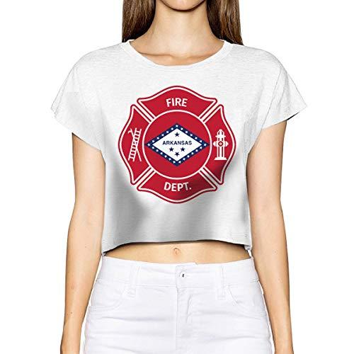 Women's State Arkansas AR Firefighter Dept Short Sleeve Bare Midriff Crop Top T-Shirt Tee White