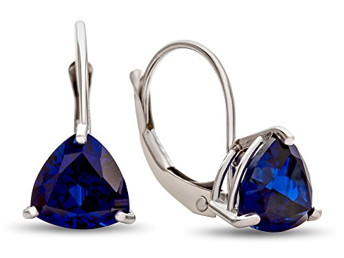Sapphire Trillion Earrings - Finejewelers 7x7mm Trillion Created Blue Sapphire Lever-back Drop Earrings 14 kt White Gold